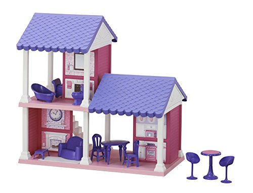 American Plastic Toys Fashion Doll Cozy Cottage with 13 Household Accessories, Purple