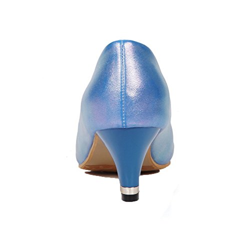 WeiPoot Toe On Kitten Blue Heels Women's Pumps PU Pull Pointed Shoes Solid rYqrwU8TF
