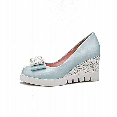 Latasa Plate-forme Darc Mignon Wedge Talon Haut Chaussures Décontractées Chaussures Bleu Clair