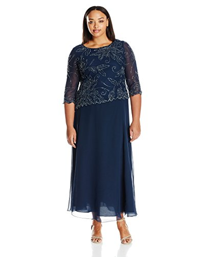 J Kara Women's Plus Size Sheer Sleeve Floral Beaded Long Dress
