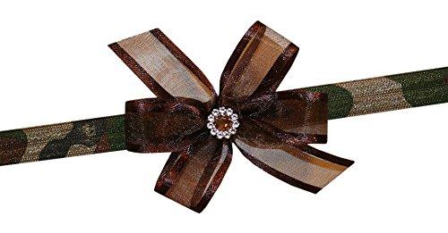 Organza Bow Headband - WD2U Baby Girls Infant Brown Organza Camouflage Camo Hair Bow Stretch Headband