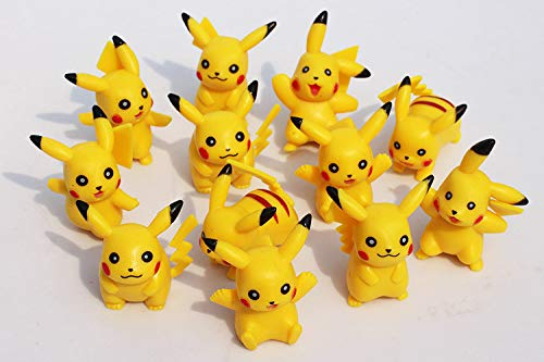 Price comparison product image ATII Creations Pikachu 12 pcs Set Mini Toy Figures Cupcake Decorations and Cake Toppers Great for Birthdays (12PCS)