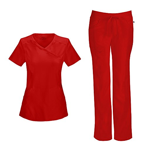 Cherokee Infinity Women's Mock Wrap Scrub Top 2625A & Low Rise Drawstring Scrub Pants 1123A Scrubs Set (Certainty Antimicrobial) (Red - Medium) -