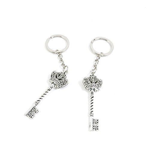 100 Pieces Keychain Door Car Key Chain Tags Keyring Ring Chain Keychain Supplies Antique Silver Tone Wholesale Bulk Lots Y5IH3 Crown Key by WOWGAME2009 KEYRING