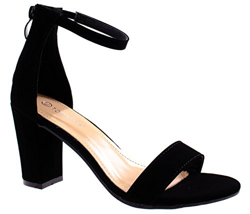 Moda Suede Pumps (Top Moda Women's Hannah-1 Black Single Band Chunky/Block Heel Sandal With Ankle Strap and Zipper Closure 7 D(M) US)