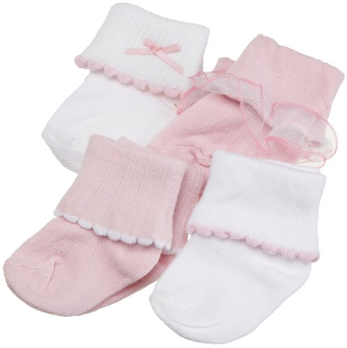 Luvable Friends Ribbed Cuff Girl Socks, 4 Pair, Multi, 0-6 Months