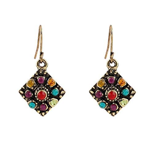- Sunyastor Vintage Bohemia National Wind Retro Rhinestone Stud Earrings Women Jewelry (A)
