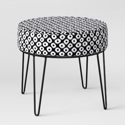 Carman Round Ottoman with Hairpin Legs Black/White Ikat - Project 62153; Black/White by project 62™