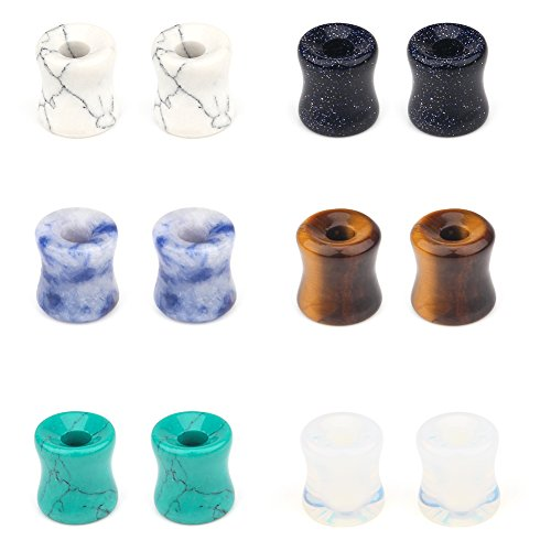 Stone Tunnel - SCERRING 6 Pairs Natural Stone Saddle Double Flared Ear Tunnels Expander Stretching Gauge Earlets Plug Gauges Body Piercing Kit 2G(6mm)