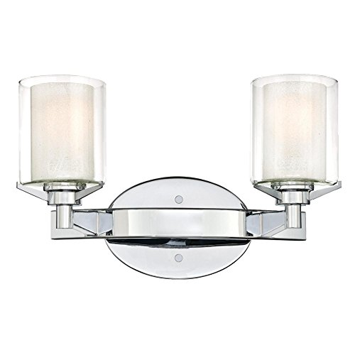 Westinghouse Lighting 6331400 Glenford Two-Light Indoor Wall Fixture, Chrome Finish with Ice Inner and Clear Glass Outer - Ice Darby