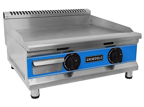 "Uniworld 24"" Single Thermostat Natural Gas Griddle with °F and °C Adjustable Dual Thermostat, 25000 BTU / Burner, Convertible to Propane with Propane Nozzle (SOLD SEPARATELY). CE Approved Model UGR-G24"