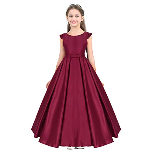 (ACSUSS Flower Girls Fly Sleeves V Back Satin Wedding Bridesmaid Birthday Party Floor Length Dress Burgundy)