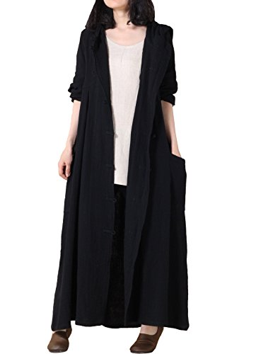 Witch Robe - Mordenmiss Women's Long Sleeve Hooded Frog Button Coat With Two Pockets Styel 1 L Black