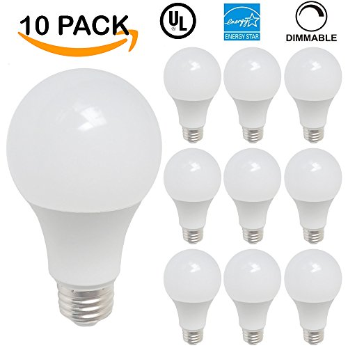 Sunco Lighting 10 PACK - ENERGY STAR & UL LISTED - LED A19 6W Omni-Directional Light Bulb, DIMMABLE, 40W Equivalent, 3000K Warm White, 470 Lumens, 25,000 Life Hours