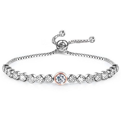 "GEORGE · SMITH Radiance""7inch Adjustable Tennis Bracelets Crystals from Swarovski Anniversary Birthday Jewelry for Wife Mom -"