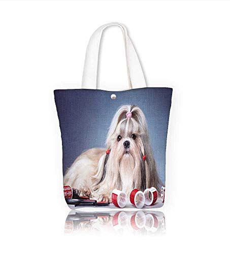 Canvas Tote BagShih tzu dog with red curlers g ing on blue Hanbag Women Shoulder Bag Fashion Tote Ba W11xH11xD3 INCH