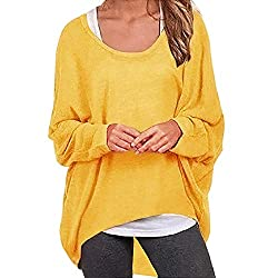 Sumeimiya Women S Sweater Casual Oversized Baggy Off Shoulder Shirts Batwing Sleeve Pullover Shirts Tops Yellow