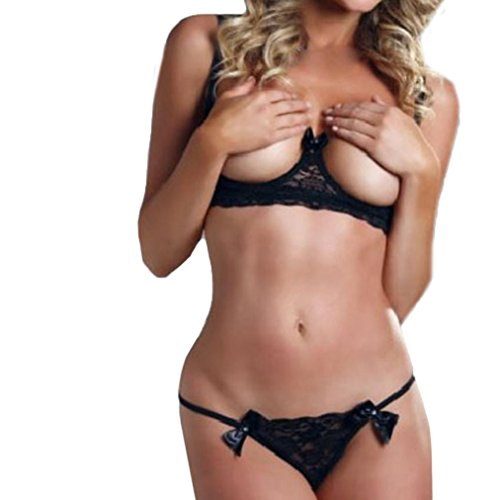 Shybuy Women's Lingerie Lace Babydoll Halter 2 Piece Bras Set with Bow Ladies Intimate Apparel (Black, M) ()
