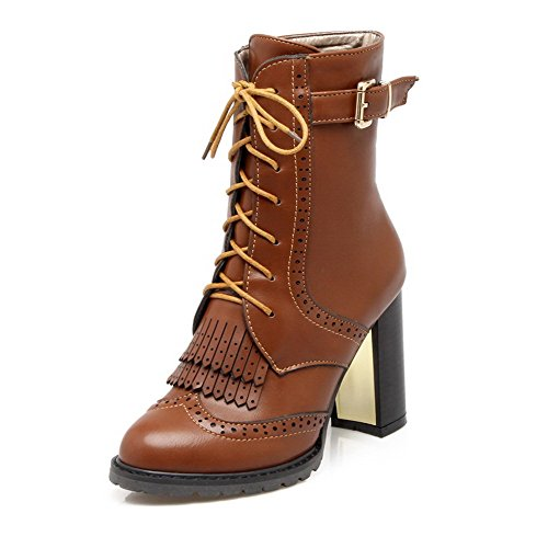 AllhqFashion Womens PU Low-top Solid Lace-up High-Heels Boots Brown 6TUs9LS