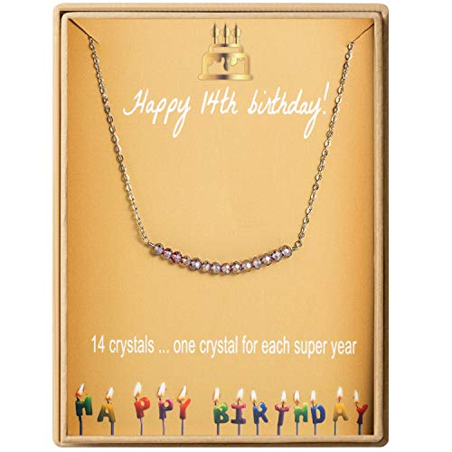 14th Birthday Gifts Necklace for Girls S925 Sterling Silver Necklace 14 Crystal Beads for 14 year old Girl Jewelry Gift for Her (Best Birthday Presents For Teens)