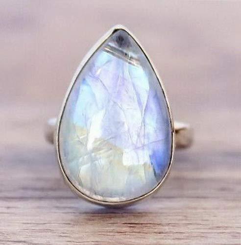 (Waldenn 925 Silver Women Man White Fire Opal Moon Stone Wedding Engagement Ring Sz6-10 | Model RNG - 15029 | Ring Box)