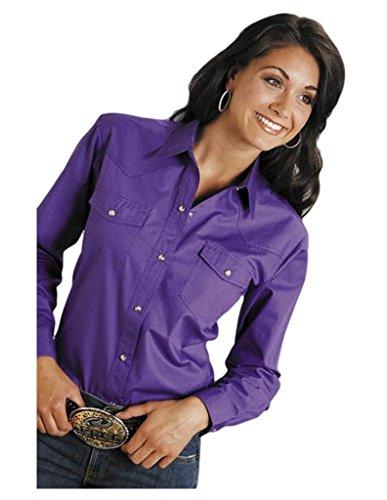 Roper Women's L/S Solid Basic Snap Front, Purple, ()