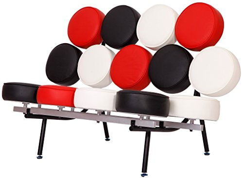 - MLF Nelson Marshmallow Sofa (7 Colors). Imported Italian Leather, Comfortable, Solid, Durable, Artistic, Easy Cleaning & Interchanged, Floor Protector Pads Adjustable.(White/Cream + Black + Red)