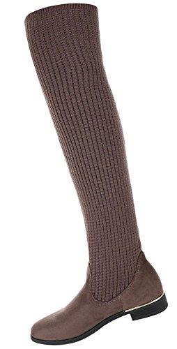 Damen Schuhe Stiefel Overknee Modell Nr.1 Hellbraun
