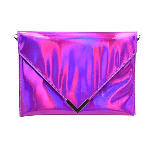 pink sintética mujer hot piel Meliya sobre Mujer pink cadena holográfica monedero bolso hot hombro embrague Bolsa de láser x6w8OwqAZf