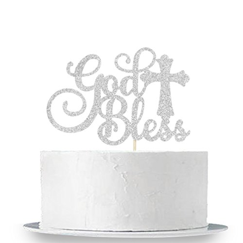 INNORU Silver Glitter God Bless Cake Topper - Communion Party Sign, Baptisim Christening - First Baby Shower Decoration Supplies ()