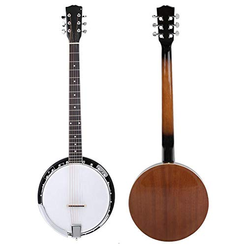 Focket 6 String Banjo, Sapele PVC Surface Banji Instrument Concert Classic Style Professional Musical Instrument Kit with Ethereal Crisp Clean Sound and Rose Wood Fingerboards for Banjo Player