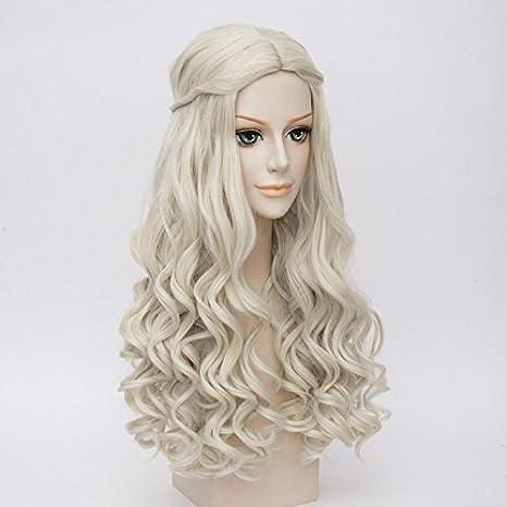 Peluca de disfraz de Daenerys Targaryen de Juego de Tronos, de LightInTheBox, color blanco