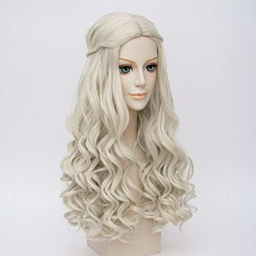 Price comparison product image LightInTheBox Game of Thrones Cosplay Wig Daenerys Targaryen khaleesi Long Curly Hair (White)