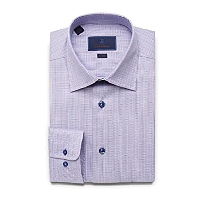 David Donahue Men's Trim Fit Glen Plaid Dress Shirt, Lilac Purple