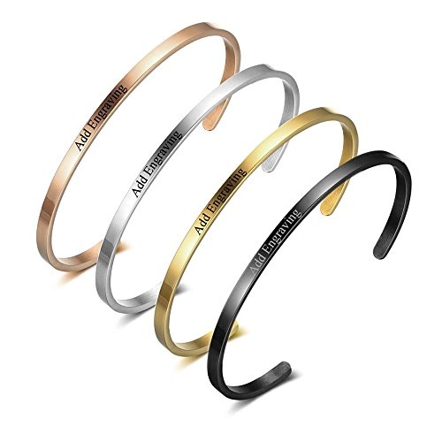 Lam Hub Fong 4 Colors Personalised His Her ID Bangles For Lover Men Women Engrave Name Stainless Steel Bracelets & Bangles Gifts (Gold Family Name Bracelet)
