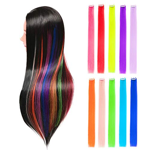 (10pcs Straight Colored Clip in Hair Extensions for Party Highlights Hairpieces 22inch Multiple Colors)