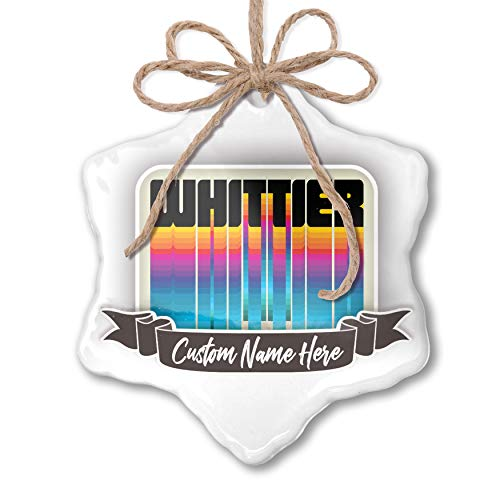 Hanging Whittier - NEONBLOND Create Your Ornament Retro Cites States Countries Whittier Personalized