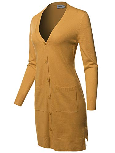 Casual Button Up Long-Line Sweater Viscose Knit Cardigan Mustard S