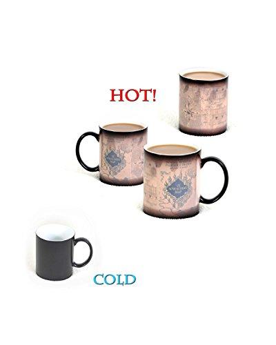 Harry Potter Morphing Mug Marauders Map Mischief Managed  I Solemnly Swear That I Am Up To No Good  Hogwarts  Ceramic Coffee Mug  Magic Heat Reveal  Color Changing  Heat Sensitive   11 Ounces