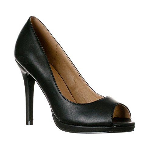 Riverberry Women's Julia Slight Platform Open Toe High Heel Pumps, Black PU, 7