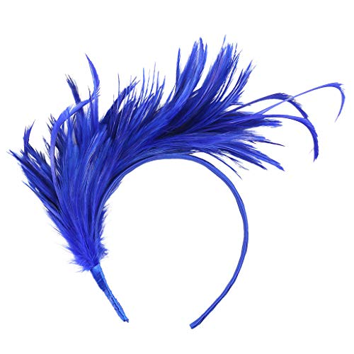Sunshinehomely Women Fascinators Hat Hair Clip Vintage Colorful Burlesque Headpiece Flapper Ostrich Feather Fancy Headband ()