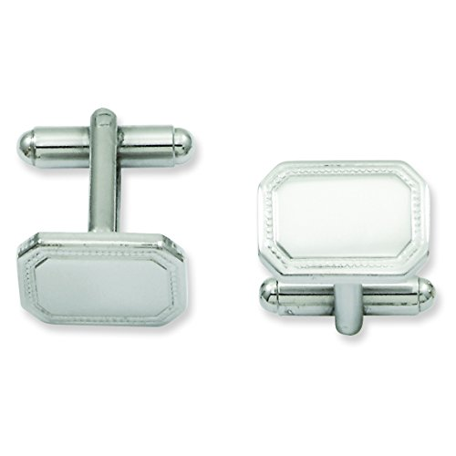 Plated Polished Rectangle Cufflinks (Rhodium-Plated Polished Rectangle Cuff Links)