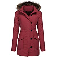 Yhlovg Military Hooded Warm Faux Fur Lined Parkas Anroaks Womens Long Coats (Multi Colors)