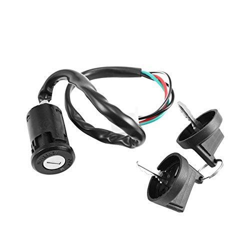 Atv Wire - INNOGLOW 1 x Seat Lock Lgnition Switch Fuel Gas Cap Lock Key Set Key Fit For ATV 4 wire 110cc 125cc Quad 4 Wheeler Taotao SunL Coolster