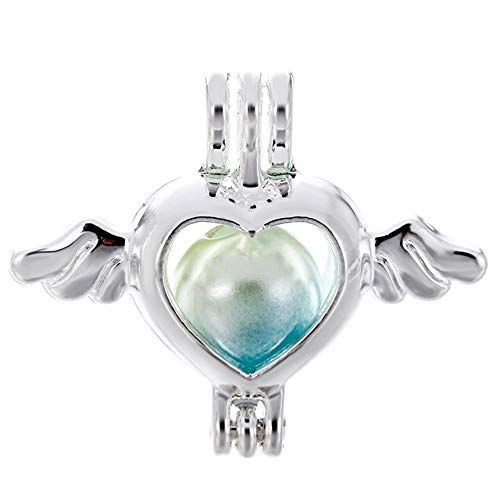 10pcs Flying Heart Pearl Cage Bright Silver Beads Cage Locket Pendant Jewelry Making-For Oyster Pearls, Essential Oil Diffuser, Fun Gifts (Flying Heart) ()
