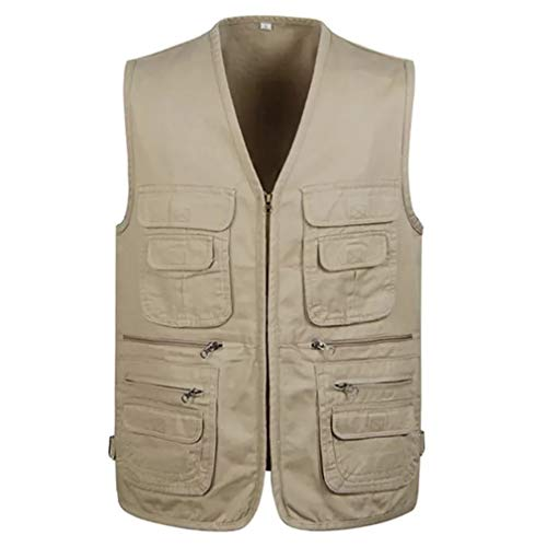 Jade Hare Men's Summer Casual Outdoor Work Multi-Function Pockets Fishing Photo Journalist Cotton Vest (Khaki Zip, X-Large)