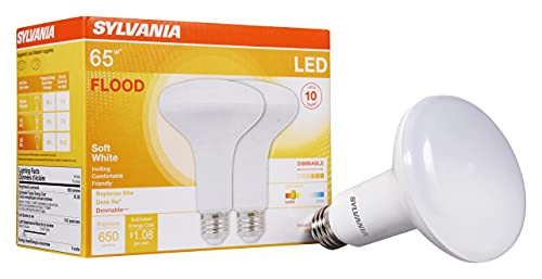 SYLVANIA LED Flood BR30 Light Bulb, 65W Equivalent Efficient 9W, 10 Year, 650 Lumens, Dimmable, 2700K, Soft White - 2 pack (73954)
