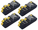 Lc.Courage Adjustable Polyester Fiber Luggage Straps/Travel Bag Strap/Suitcase Belts (Black/Yellow 4Pack)