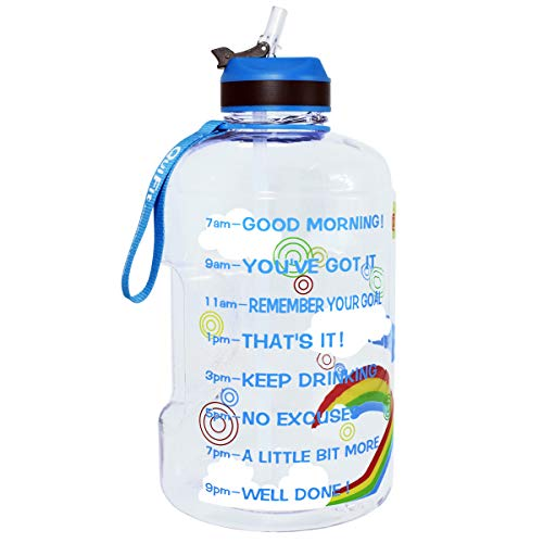 QuiFit Gallon Water Bottle with Straw and Motivational Time Marker Easy Sipping 128/73/43 oz Large BPA Free Reusable Sport Fitness Water Jug with Handle to Drink More Water (Rainbow, 1 Gallon)
