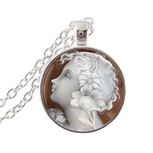 xinchengquzhihao Jewelry Cameo Pendant Necklace Handmade Glass Dome Pendant Angel Women Party Gifts,1